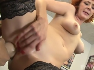 Wild stud nails fuck holes of spoiled red haired lady Audrey Hollander with...