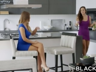 Tempting babes Abigail Mac and August Ames enjoy big black dick for the first time