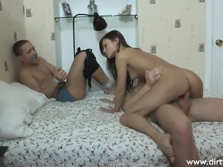 Cheating husband gets to watch his gorgeous wife fucking a stranger