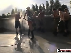 Hot babes get gang banged by several guys with hard dicks