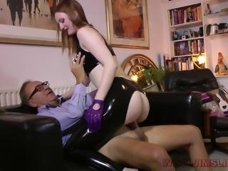 Brunette slut in latex gets rammed by an older dude