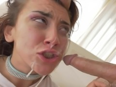 Kinky bitch gets a rough face fucking and gets covered in cum