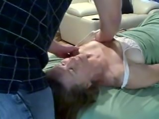 Giving my first sensual massage to my white slim wife