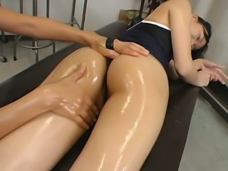 Asian minx Maki Mizui get sher tight body covered with massage oil