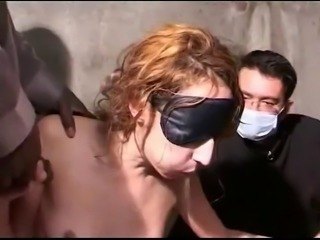 Blindfold wife kneels under dicks Strangers