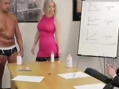 British CFNM babes massage naked guy in office