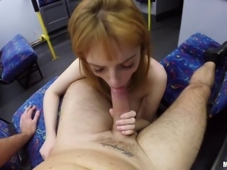 Public blowjob and sex on the train with a cutie in a skirt