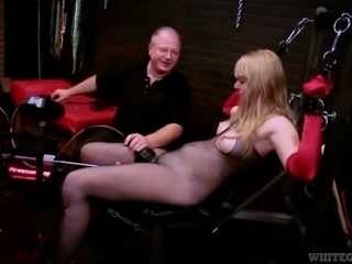 Blonde milf is served with fuck machine and vibrator
