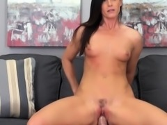 Slender brunette mom with tiny boobs India Summer fucks a hard stick