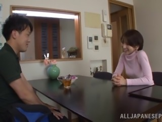 Japanese babe with small tits masturbates and drilled Hardcore