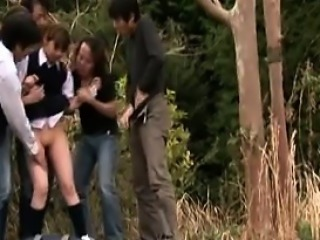 Schoolgirls walking home take a pee outside and are caught