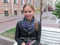 Russian chick is picked up and fucked by horny tricky agent