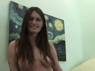 Brunette pierced titty amateur flashes the camera man