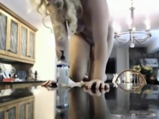 Blonde girl on her the bar