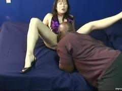 Skanky Korean hooker sucking black dick in arousing interracial video