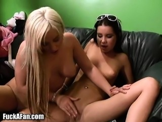 Busty Angelina Ashe engages in lesbian action and enjoys a hard dick