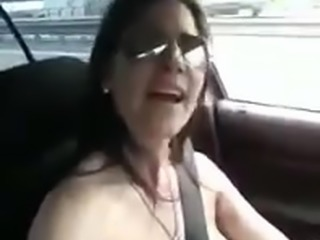 Happy MILF Driving Topless