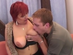 Fit guy fucks a mature granny slut in black stockings