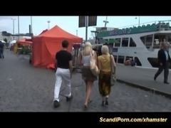 swedish threesome in public