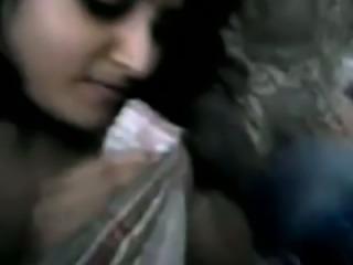 Beautiful Indian girlfriend gives sensual head to her man