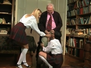 Naughty schoolgirls and lucky old bastard