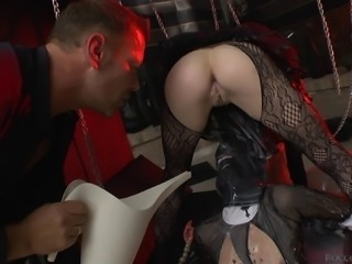 Cute long haired blonde on high heels got drilled at a party BDSM