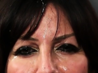 Wicked idol gets jizz shot on her face swallowing all the ju