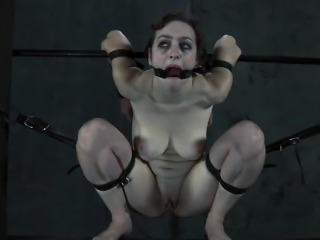 Hotty is tied upside down with her snatch thrashed