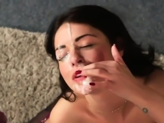 Slutty model gets sperm load on her face gulping all the jiz