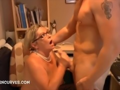 By request more Mature secretary over the desk