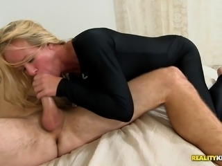 hot blowjob and blonde get pounded hard in ripped pantyhose