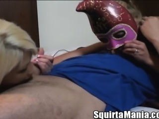 Masked nymphos having fun with sex toys and enjoying some hard meat