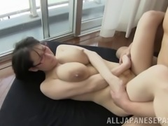 Milky titties squirt all over the glass door before they fuck her