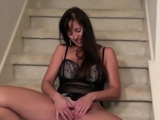 USAWives Horny wife in hot black corset masturbates