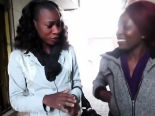 Lesbian action between two African babes in the bathroom