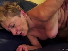 Chubby granny called Malya blows and rides a hard cock