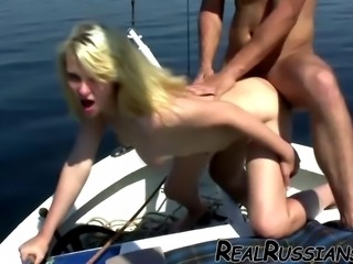 EURO COUPLE ENJOY FUCKING OUTDOOR ON BOAT !!