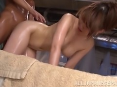 Japanese couple oils up and has great hardcore sex