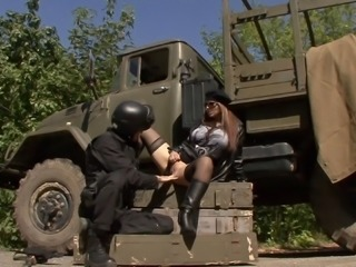 Busty military babes strips off her uniform and fucks