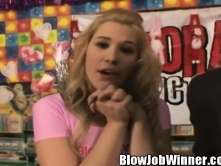 Attractive blonde girl Kimberly Kiss offers Dave a marvelous blowjob