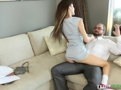 Very petite teen babe seduces an older guy and fucks