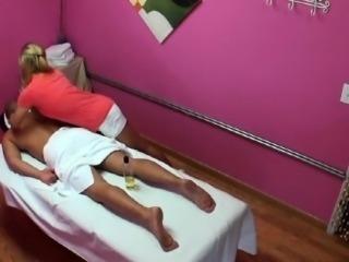 Blond asian masseuse wanking client