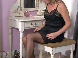 mature blond stockings flashing.