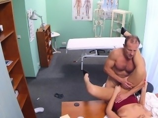 FakeHospital New nurse takes double cumshot from doctor