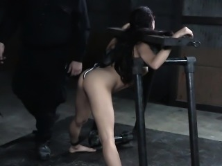BDSM sub in stocks flogged and ass punished
