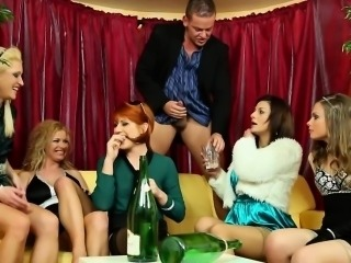 Partying pissing orgy babes pussyfucked