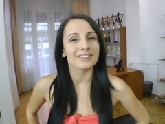 Amateur brunette with long hair getting rammed by a big cock in pov shoot