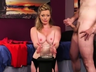 Spicy babe gets cumshot on her face sucking all the ejaculat