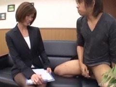 Nasty Japanese office lady gives this horny guy a jerking off interview
