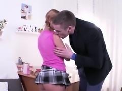 Blonde Schoolgirl Jacey Teases Her Tutor